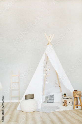 Obraz na płótnie Decorative boho styled cozy hut with decor