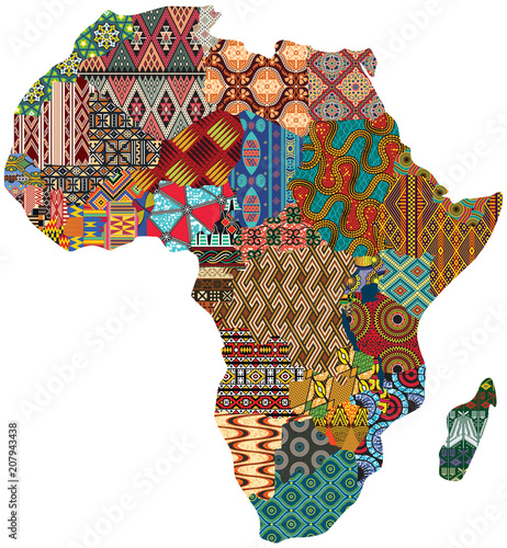 Abstrakcjonistyczna Afryka patchworku tradycyjnej tkaniny wzoru wektoru mapa