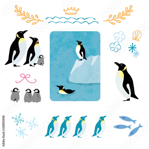 Fototapeta premium Letni pingwin ilustracja zestaw ikon