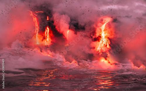 Carta da parati Lava is flowing from volcano Kīlauea to Pacific ocean