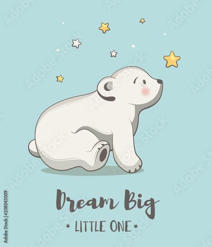 Śliczna karta z małym niedźwiedziem, plakat dla dziecko pokoju, dziecko prysznic, ręka rysująca pepiniera ilustracja