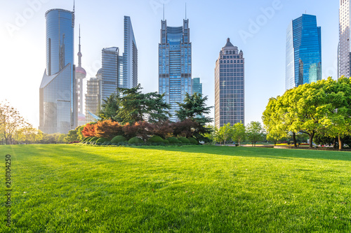 modern office building with green lawn in park