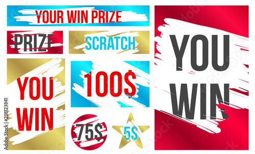 Fotografie, Tablou Creative vector illustration of lottery scratch and win game card isolated on background