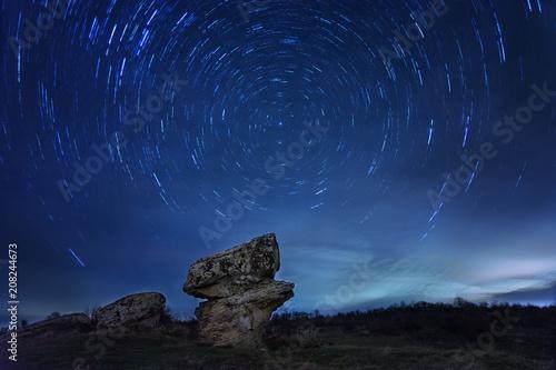 Photo Star Trail with long exposure effect  at Dobrovanski gabi, Bulgaria