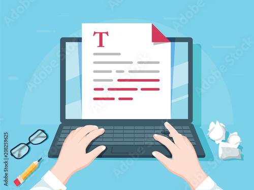 Obraz na plátně Writer writing on computer paper sheet vector illustration, flat cartoon person