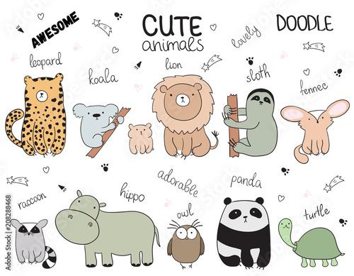 Set wektorowa kreskówki nakreślenia ilustracja z ślicznymi doodle zwierzętami