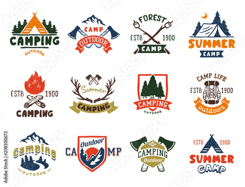 Stampa su Tela Set of vintage woods camp badges and travel logo hand drawn emblems nature mountain camp outdoor vector illustration