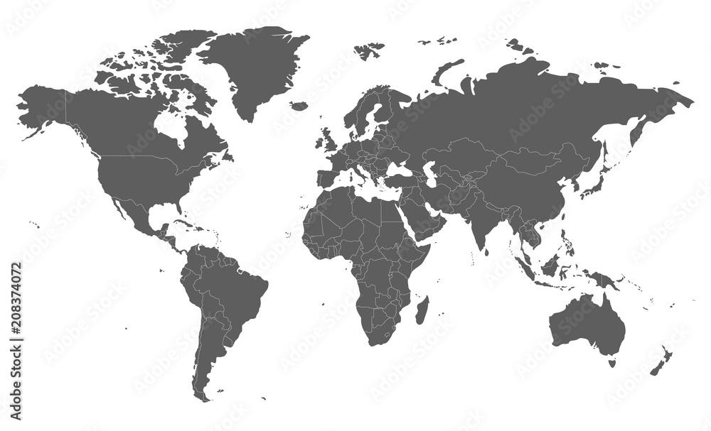 Polityczna pusta Światowej mapy wektorowa ilustracja odizolowywająca na białym tle. Edytowalne i wyraźnie oznaczone warstwy. <span>plik: #208374072 | autor: asantosg</span>