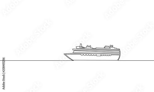 Fotografia Single continuous one line art ocean travel vacation