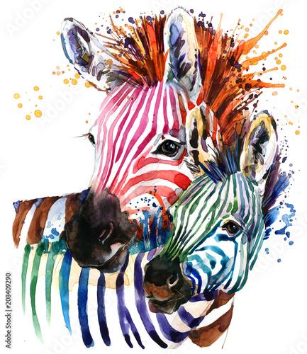 Fotografia zebra illustration with splash watercolor texture