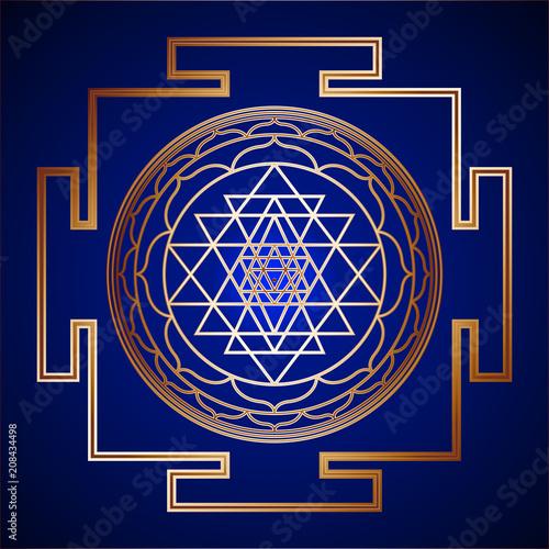 Canvas Print Golden Sacred Geometry Sri Yantra on background