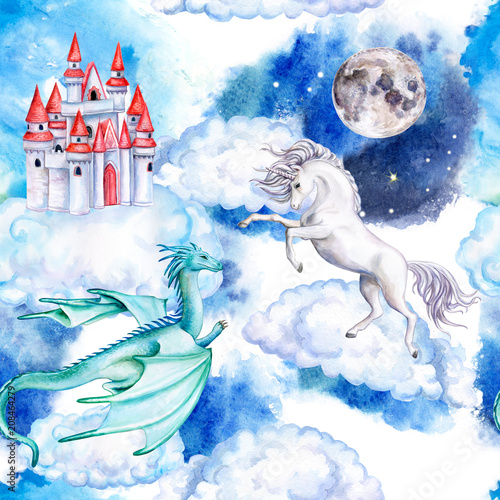 Unicorn on clouds, castle, dragon, moon isolated on white background. Seamless wallpaper with white horse and magic castle. Watercolor. Illustration. Template
