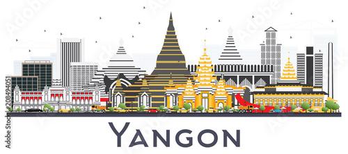 Платно Yangon Myanmar City Skyline with Gray Buildings Isolated on White
