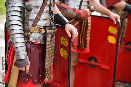 Fotografia Reenactment detail with roman soldiers uniforms
