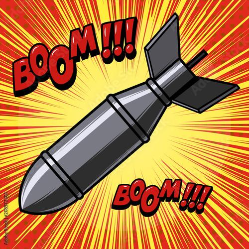 Kreskówki bomba na tle z prędkości liniami. Element projektu plakatu, wydruku, karty, baner, ulotki.