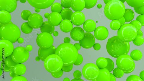 Green spheres of random size on white background
