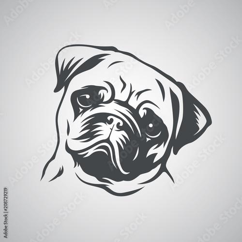 Wallpaper Mural Cute pug dog head. Vector illustration.