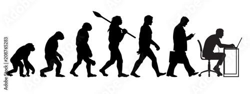 Fotografia, Obraz Silhouette of theory of evolution of man