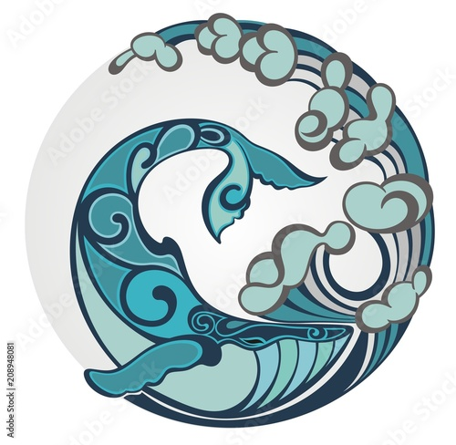 Fototapeta premium Stylizowane ręcznie rysowane ogon wieloryba w falach oceanu, ilustracji wektorowych, okrągły element dekoracyjny