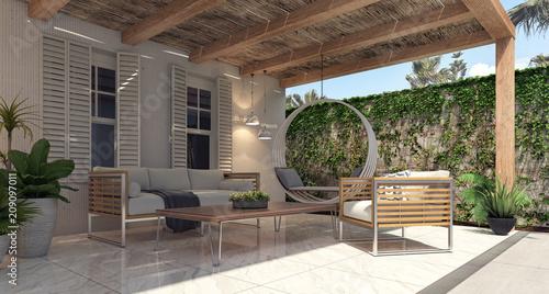 Cuadros en Lienzo Home garden exterior and patio 3D Rendering