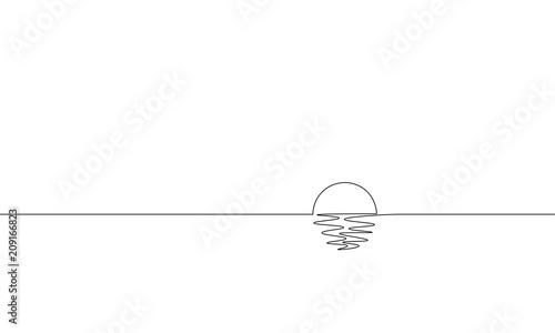 Fotografia Single continuous one line art sunny ocean view