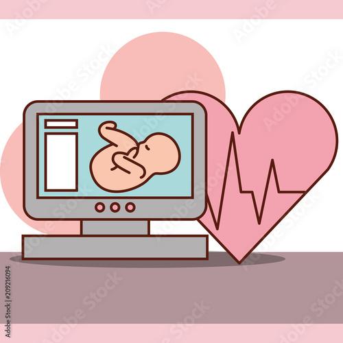 Obraz na plátně pregnancy fertilization fetal monitoring heart life line vector illustration