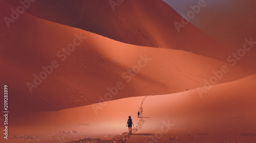 Fotografia, Obraz hikers climb up to the sand dune in the red desert, digital art style, illustrat
