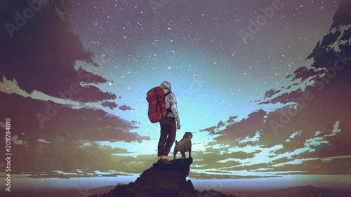 młody turysta z plecakiem i psem stojącym na skale i patrząc na gwiazdy na nocnym niebie, styl sztuki cyfrowej, malarstwo ilustracyjne