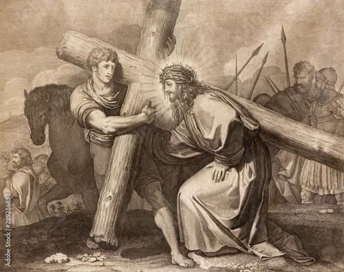 Fotografia REGGIO EMILIA, ITALY - APRIL 12, 2018: The lithography Jesus is helped by Simon of Cyrene (cross way) in church Chiesa di Santo Stefano by Benedetto Eredi (1750 - 1812)