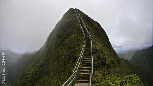Fotografia stairway to heaven metal stairs on mountain ridge hike Oahu island Hawaii