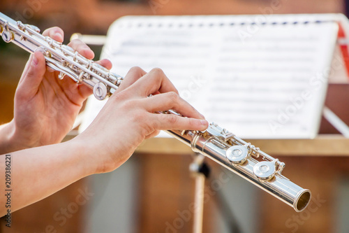 Slika na platnu The girl plays the flute
