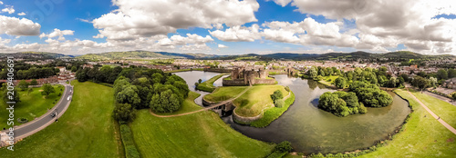 Fotografie, Obraz Aerial view of Caerphilly castle in summer, Wales