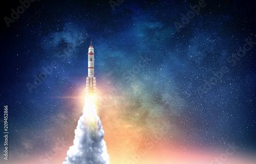 Canvas Print Rocket space ship . Mixed media