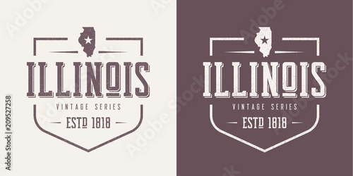 Stampa su Tela Illinois state textured vintage vector t-shirt and apparel desig
