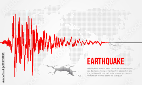 Slika na platnu Red earthquake curve and world map background Vector illustration design