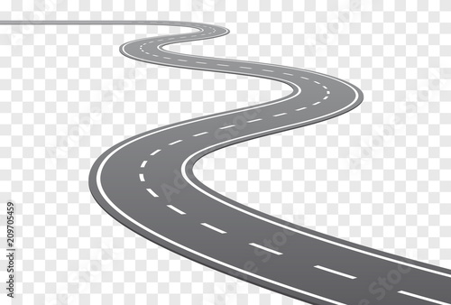 Canvas Print Vector Curved road with white lines