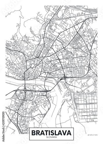 Photo Detailed vector poster city map Bratislava