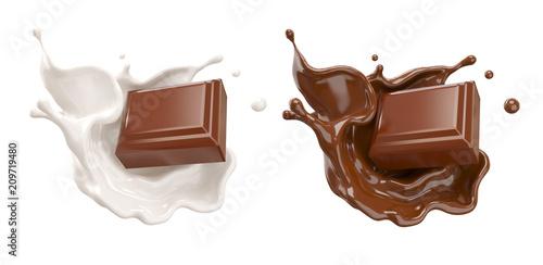 Canvas Print chocolate pieces falling on chocolate sauce and Milk cream splash 3d illustration