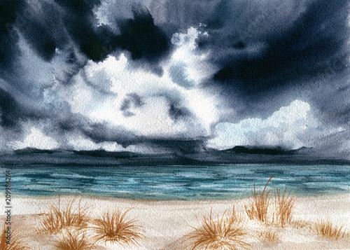 Akwarela krajobraz z morza i ciemnego nieba