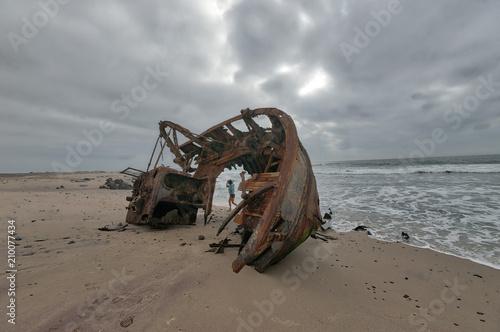 Ship Wreck along the Skeleton Coast in Western Namibia taken in January 2018 Fototapeta