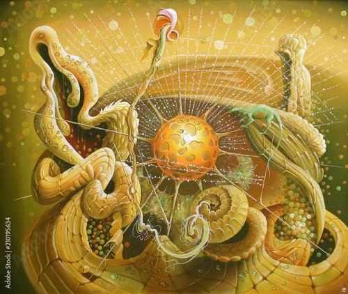 An oil painting on canvas. The origin of life. Author: Nikolay Sivenkov.