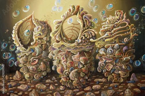 Artwork. Sea opus. Surreal underwater image composed of seashells. Author: Nikolay Sivenkov.