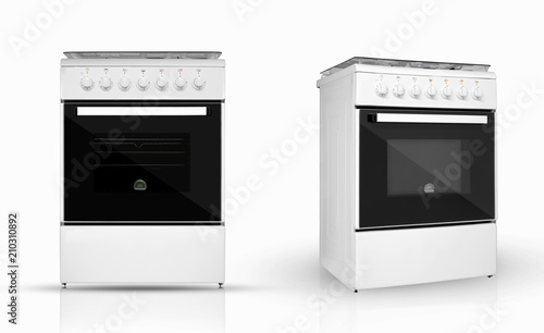 modern household kitchen oven in two review provisions on a white background. kitchen appliances. Isolated