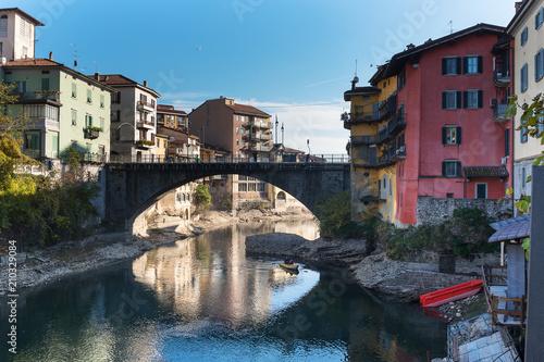 Canvas Print Brembo river in Bergamo, Italy.