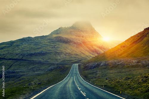 A long straight Country Road, Faroe Islands