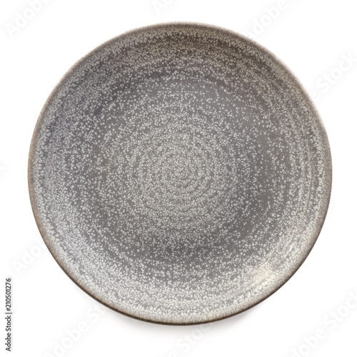 Round Gray Stoneware Plate Isolated Top View Fotobehang
