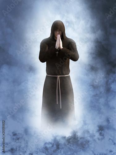 Fotografia, Obraz 3D rendering of a christian monk praying.