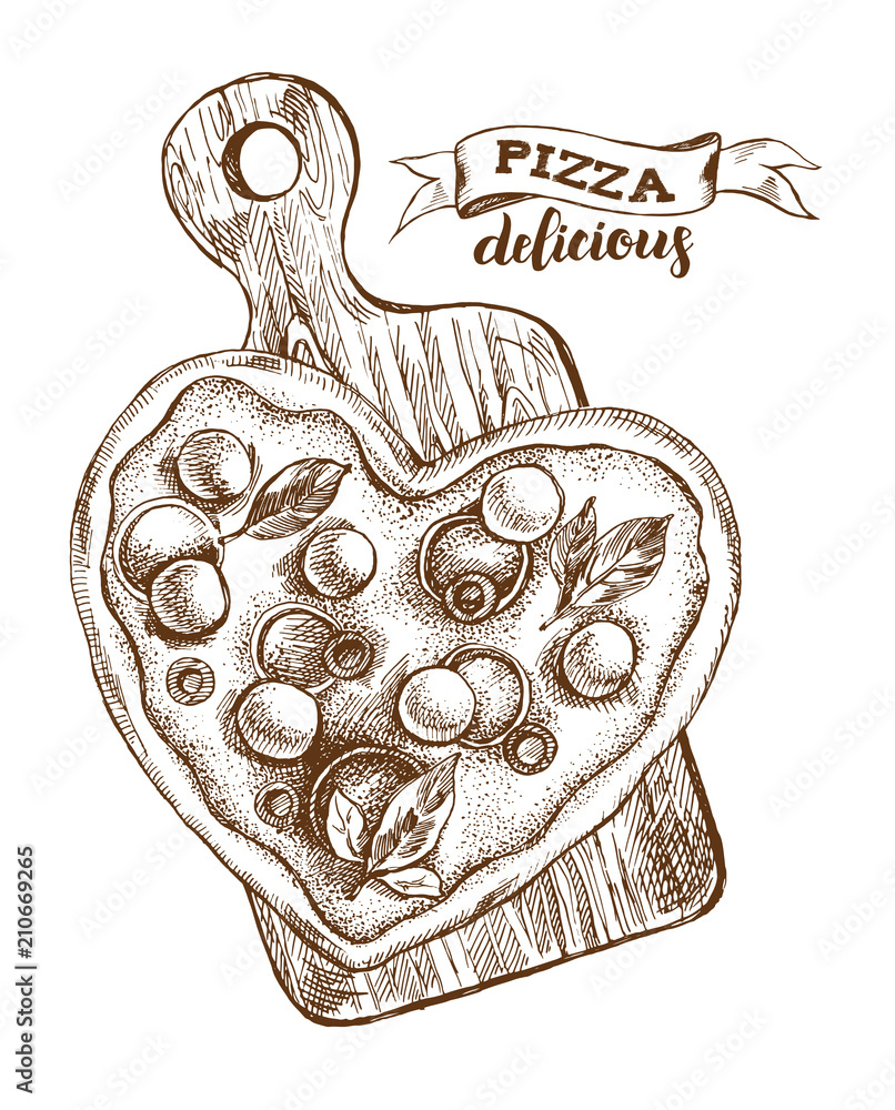 Heart-shaped Pizza with mozzarella, basil and olives on a wooden cutting board. Italian cuisine. Ink hand drawn Vector illustration. Top view. Food element for menu design. <span>plik: #210669265   autor: olga_zaripova</span>