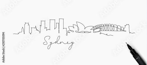 Canvas Print Pen line silhouette sydney
