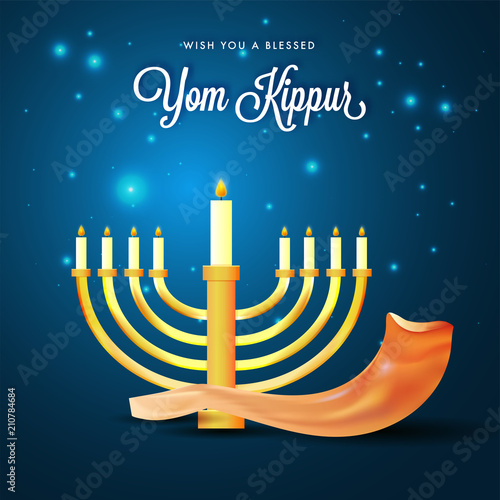 Canvas Print Menorah with burning candles and shofar horn on blue lights background for Yom Kippur concept
